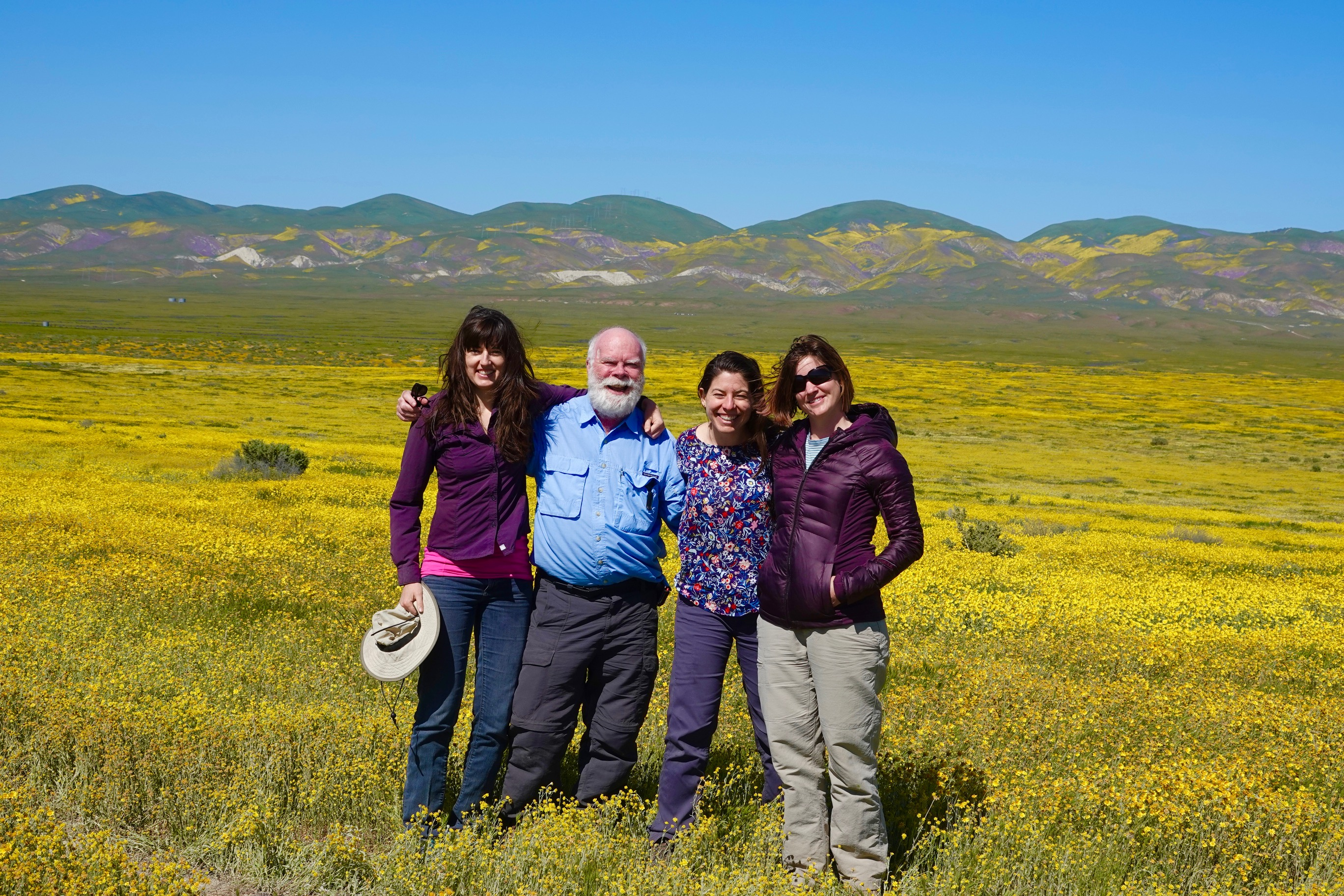 Super bloom at the Carrizo Plain with Joan Dudney, Richard Hobbs, and Nancy Shackelford
